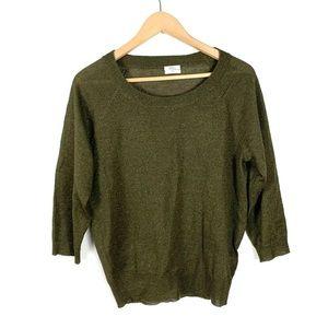 Madewell Wallace Sweater Green Metallic Medium